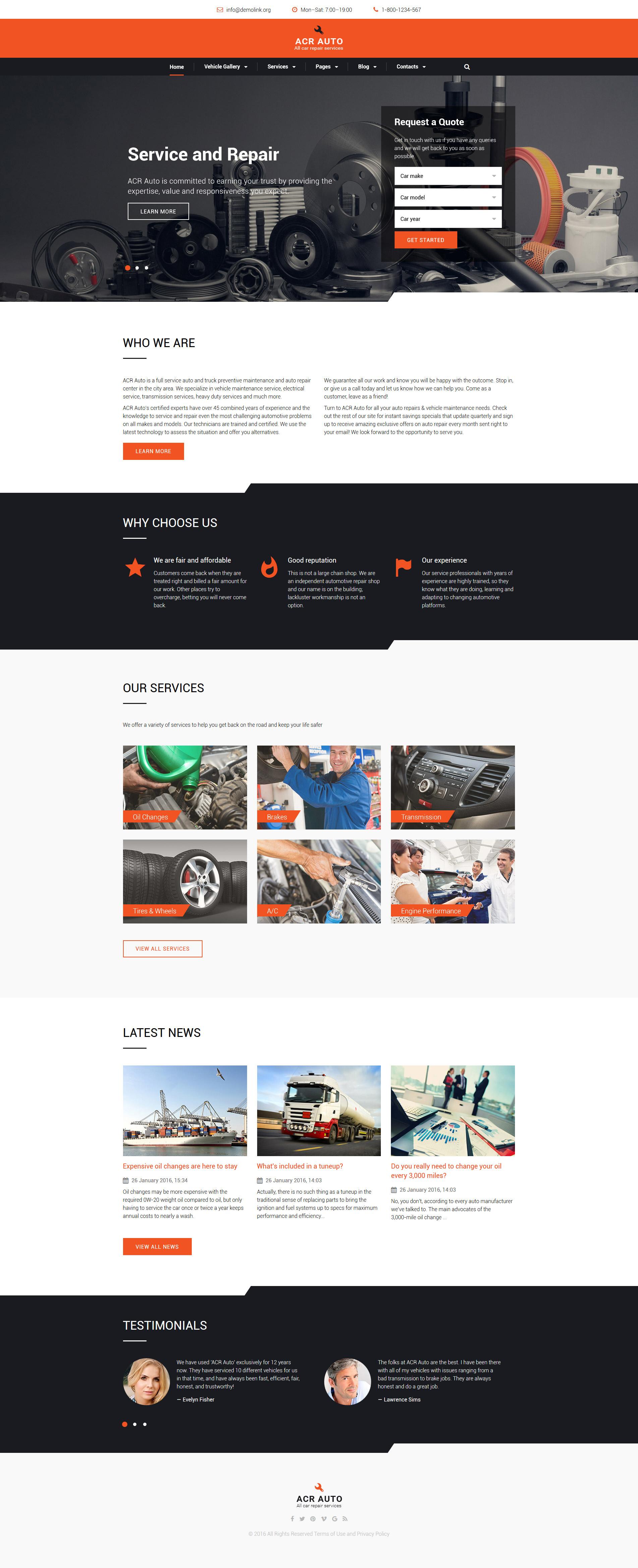 car repair templates archives zemez html