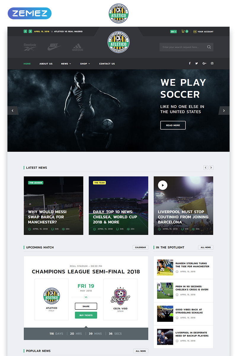 Soccer Templates Archives - Zemez HTML