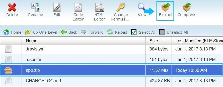 unzip app folder