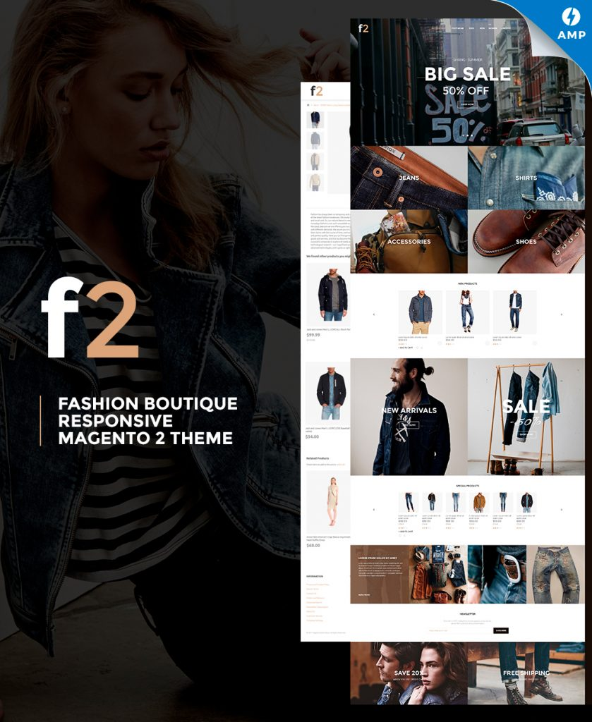 F2 - Fashion Boutique Magento 2 Theme with AMP