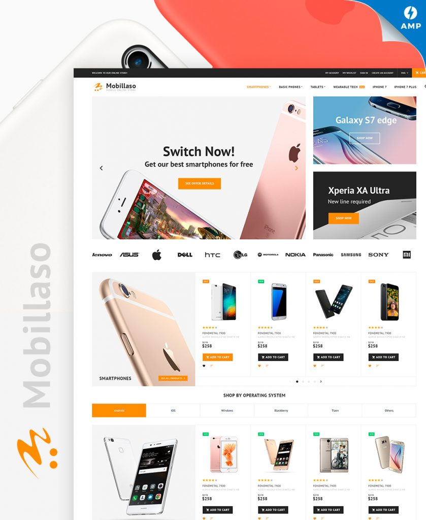 Mobillaso - Mobile Store Responsive Magento Theme with AMP