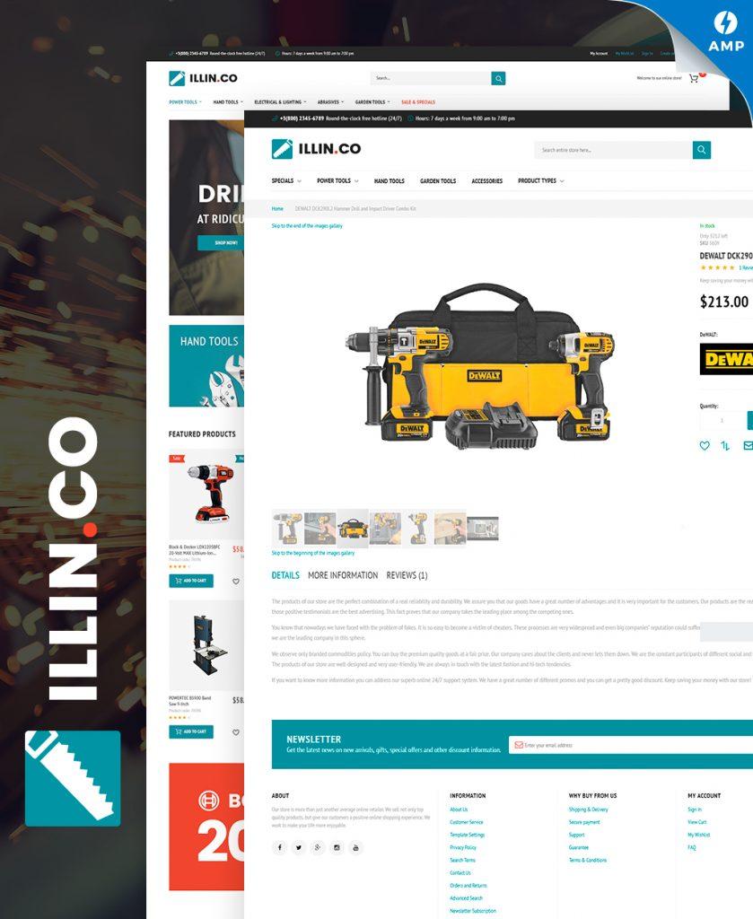 Illin.co - Tools & Equipment Magento Theme AMP