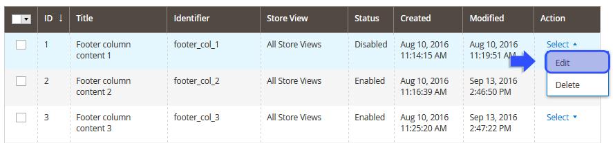 CMS Static Block settings