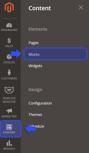 Content > Blocks section