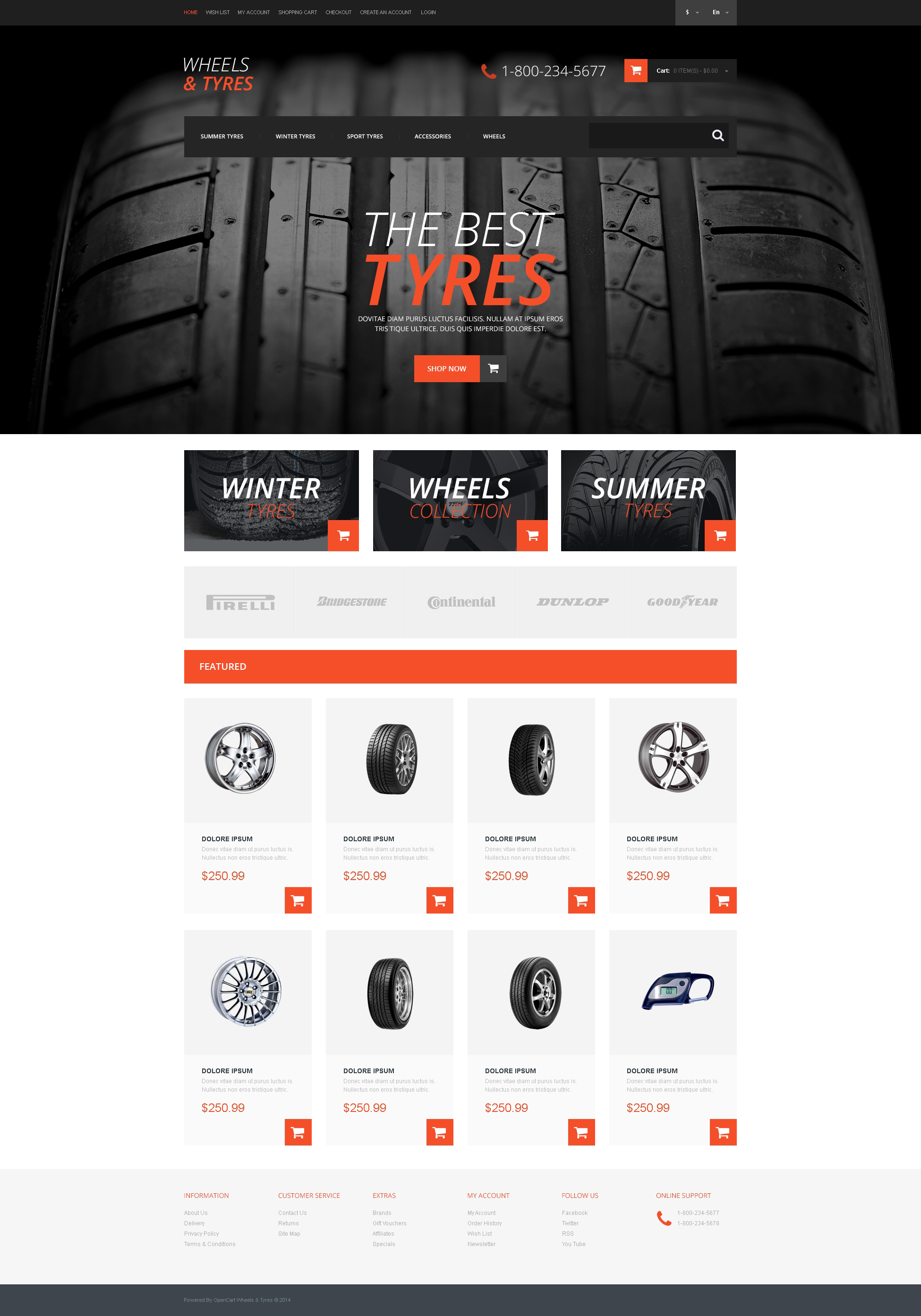 Wheels Tires Template Responsive Opencart