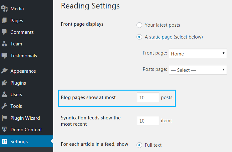 changing posts number per blog page