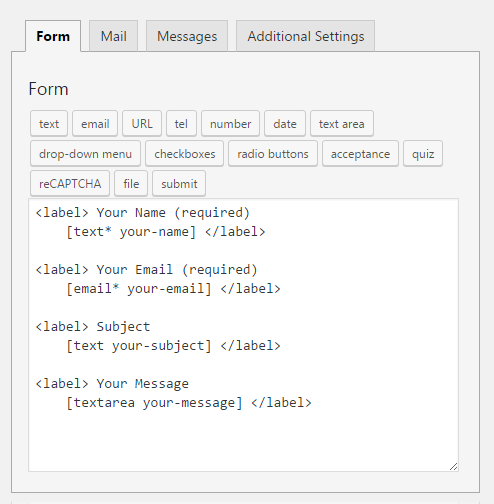 Create forms using Contact Form 7 plugin