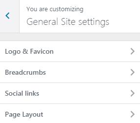 General Site Settings Customizer