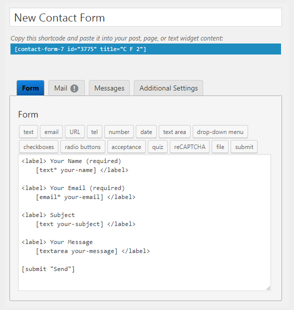 Contact Form 7  How to Add New Fields to Contact Form