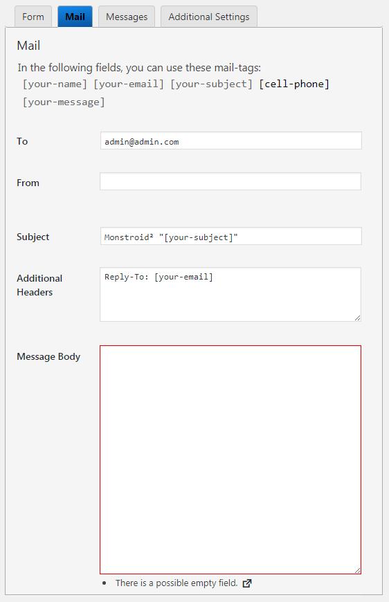 contact form 7 error