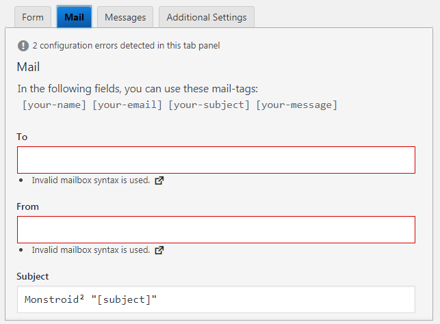 """solve""""Your contact form has a configuration issue"""" error"""