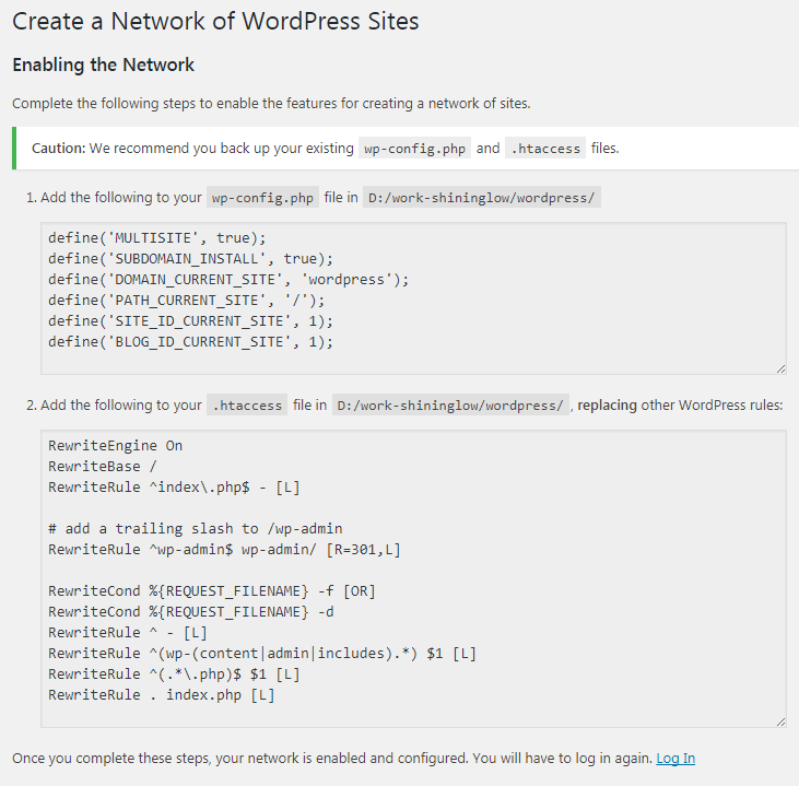 configure WordPress multisite