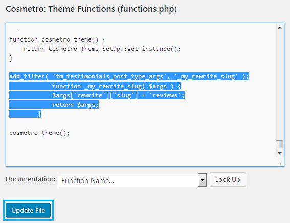 How to change custom post type slug on the website