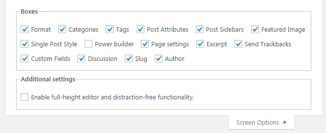 Enable Missing Post Configuration Options