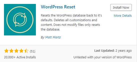 reset wordpress website