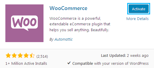 Activate WooCommerce Plugin