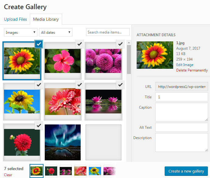 create Gallery post
