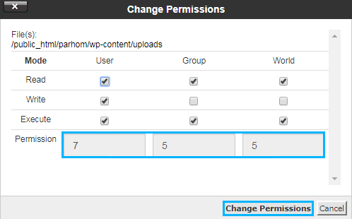 Change Files and Folders Permissions