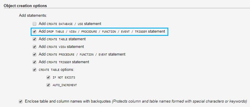 Create Database Backup