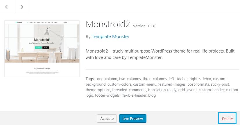 delete WordPress theme