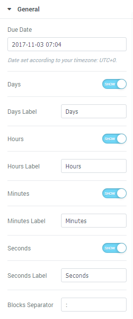 Countdown Timer JetElements Module for Elementor