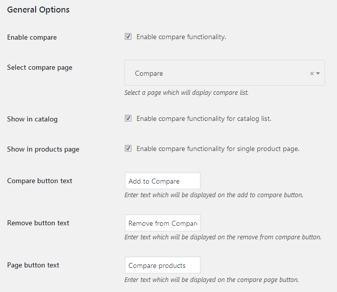 TM WooCommerce Compare & Wishlist Settings