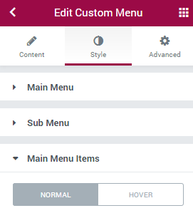 edit menu with elementor