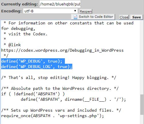 Use WP_DEBUG