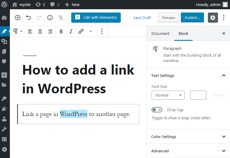 how to link pages in wordpress