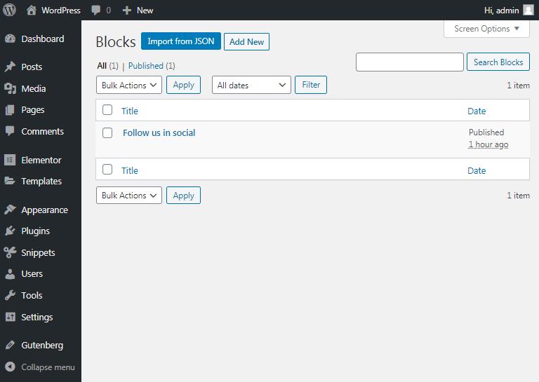 save as reusable block in gutenberg