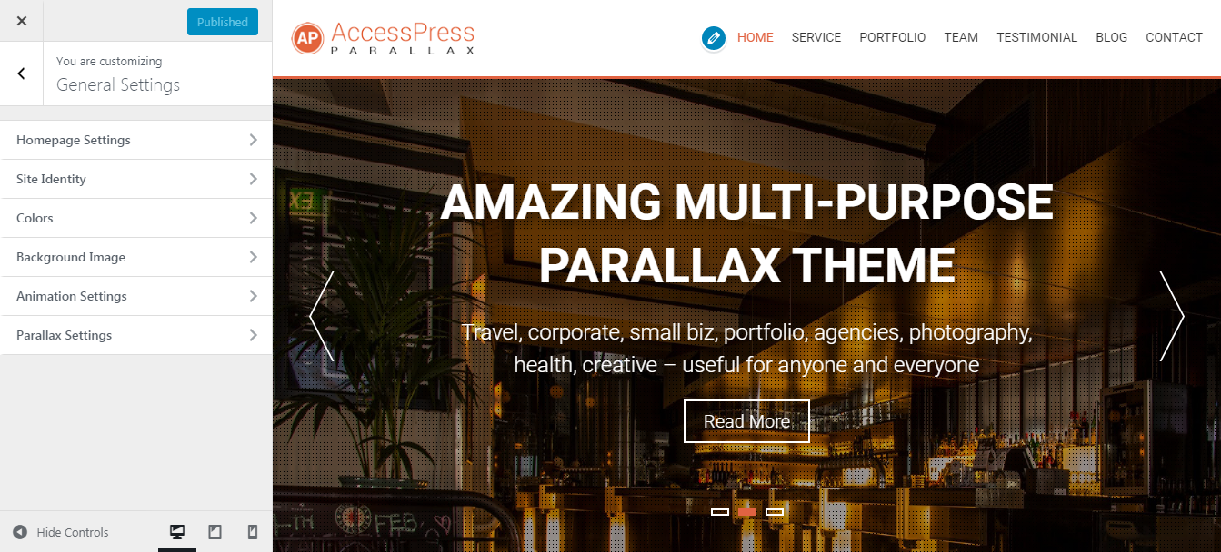 Customize Accesspress Parallax