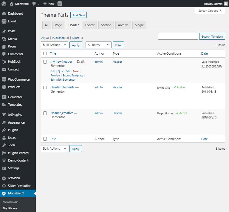 build wordpress page header