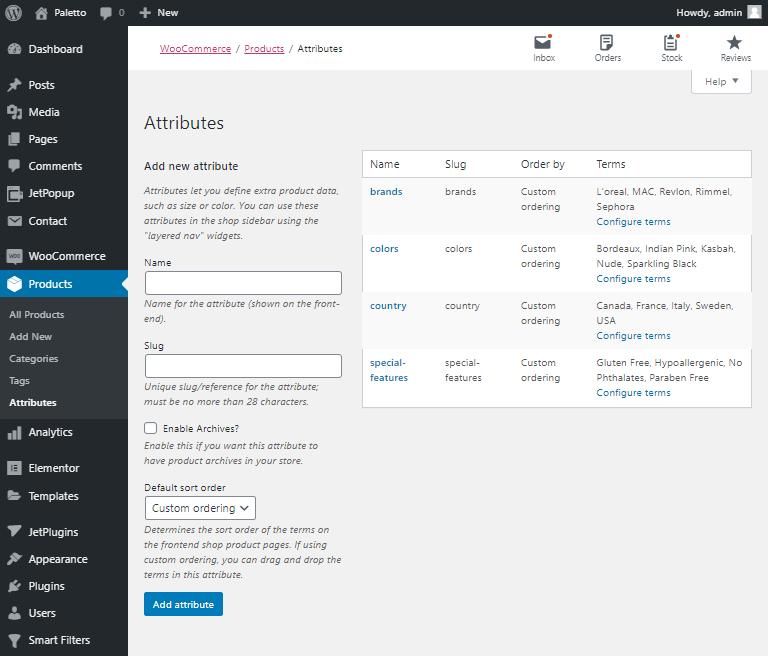 wordpress product filters
