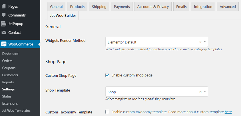 WooCommerce page template