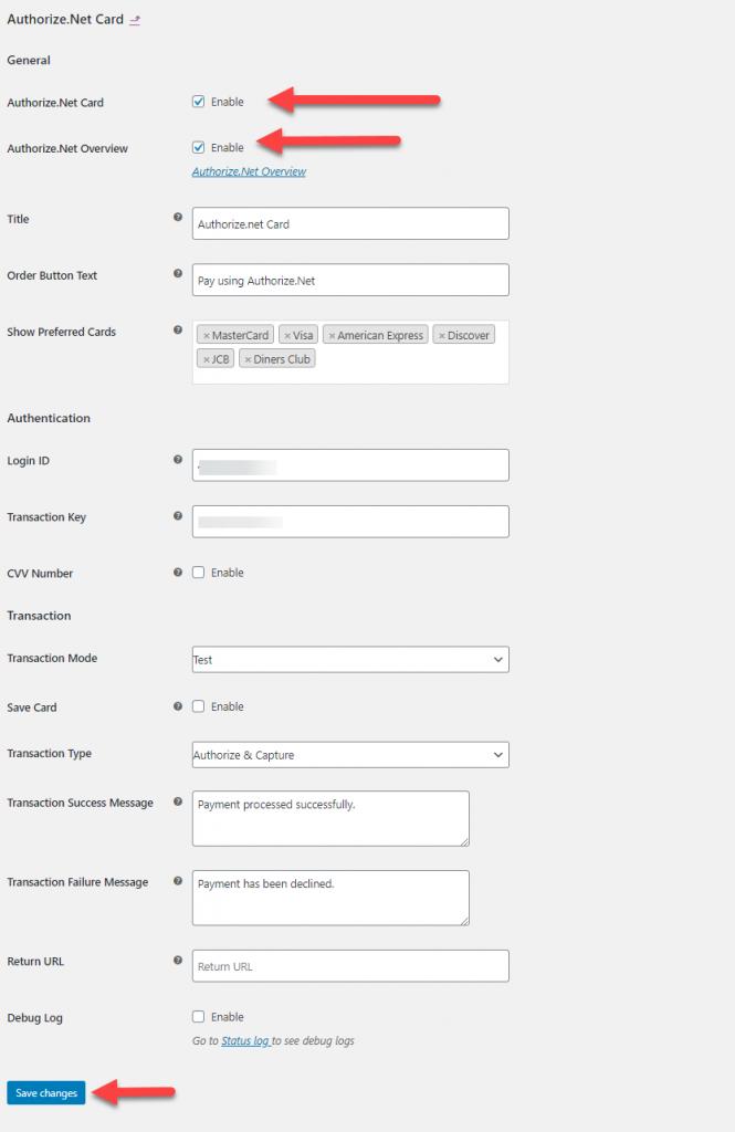 authorize.net woocommerce integration