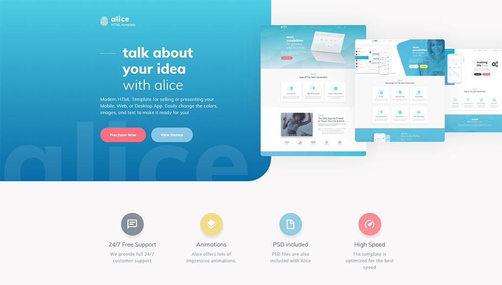 Alice - Application Multipurpose HTML5 Website Template
