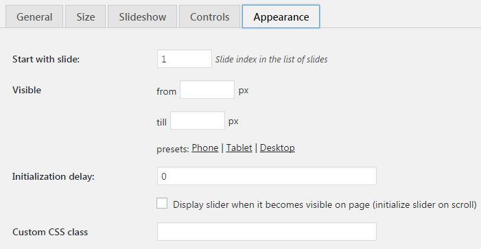 Overview of MotoPress slider settings: general settings
